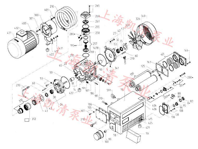 xd型旋片式真空泵的分解图:(附零部件对照表)